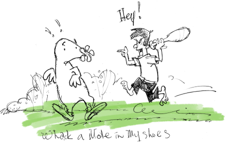 Whack a mole in my shoes