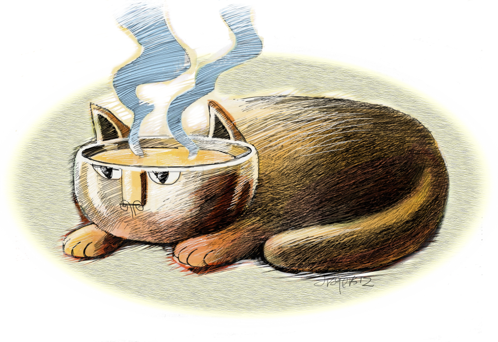 Old fashioned cat with soup for brains