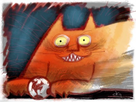 Large hot orange cat with demented yellow eyes toys with the world